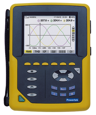 Powertek PA8332 and PA8334 Three Phase Power Quality Analyser